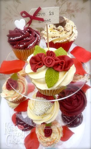 Wedding Cupcake tower...Valentines! Kissmycake.co.uk