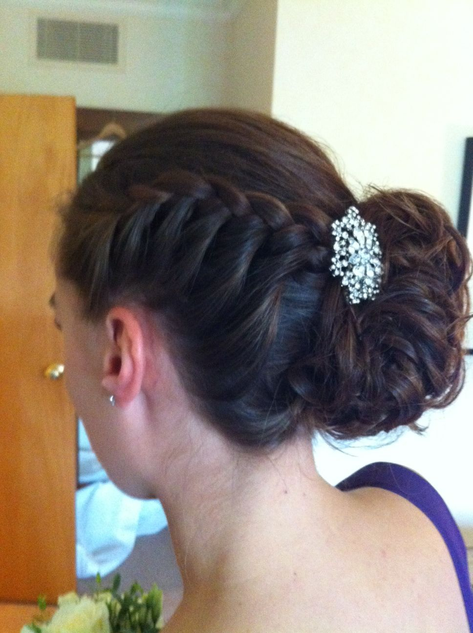 Bridesmaid plaited Chignon by Stacey at Philosophy Newark | Wedding hairstyles, Hair beauty, Plaits