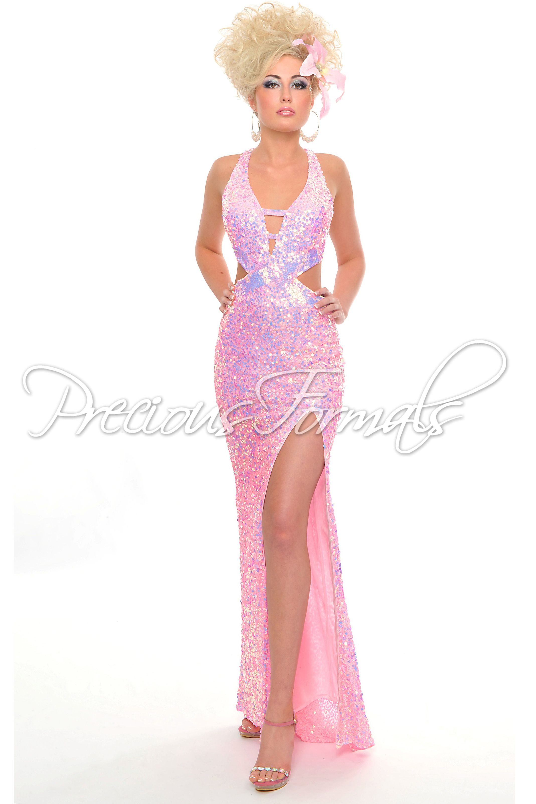 Another popular one sexy pink sequin open back prom dress with a