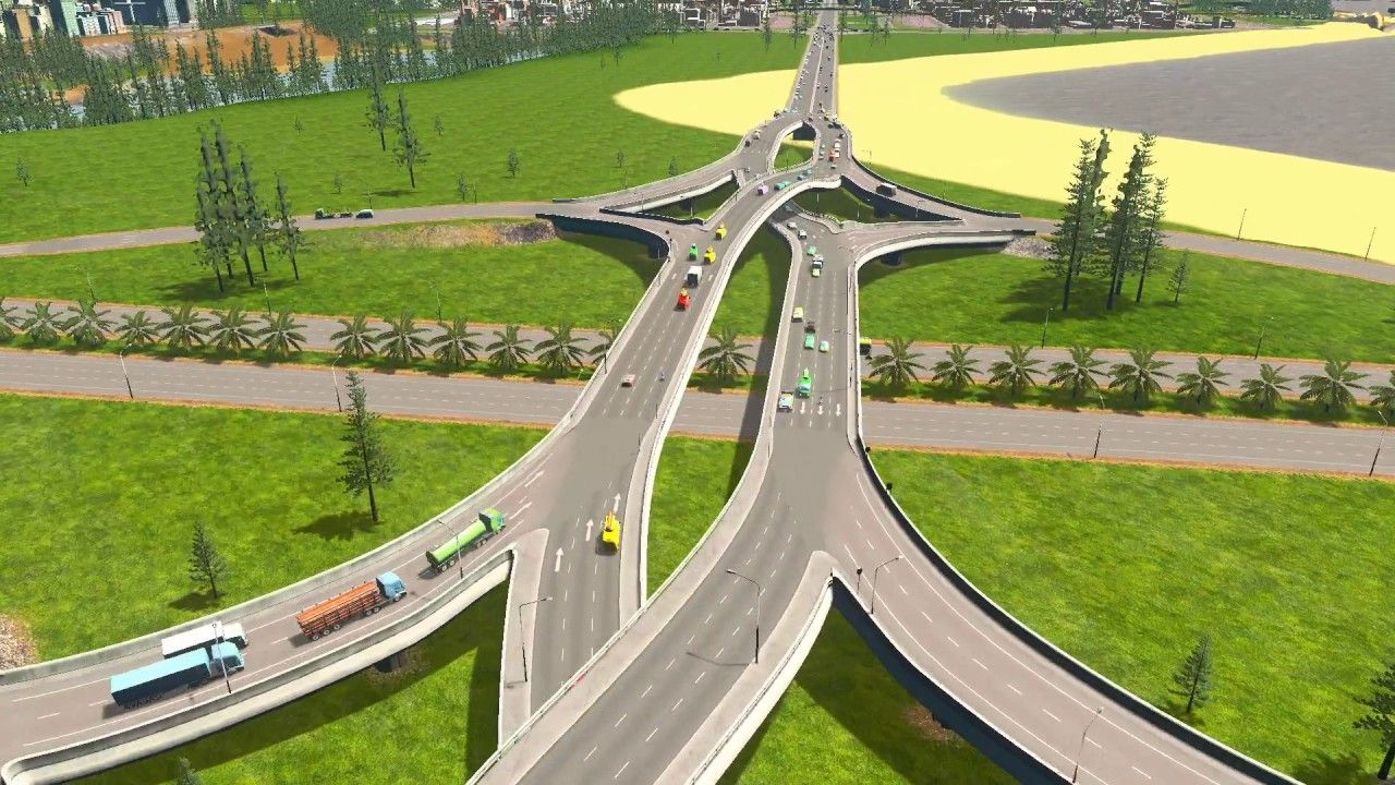 Cities Skylines Double Crossover Merging Interchange Grade Separate City Layout City Skylines Game City Skyline