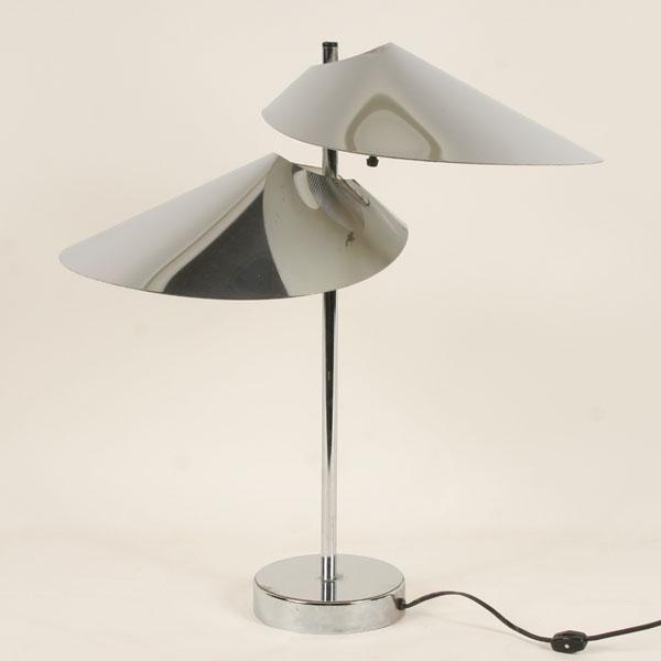 """C. Jere, Chrome Tandem """"Sun Visor"""" Table Lamp for Artisan House, 1970s."""