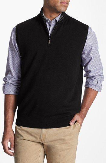 Peter Millar Quarter Zip Merino Wool Sweater Vest available at ...