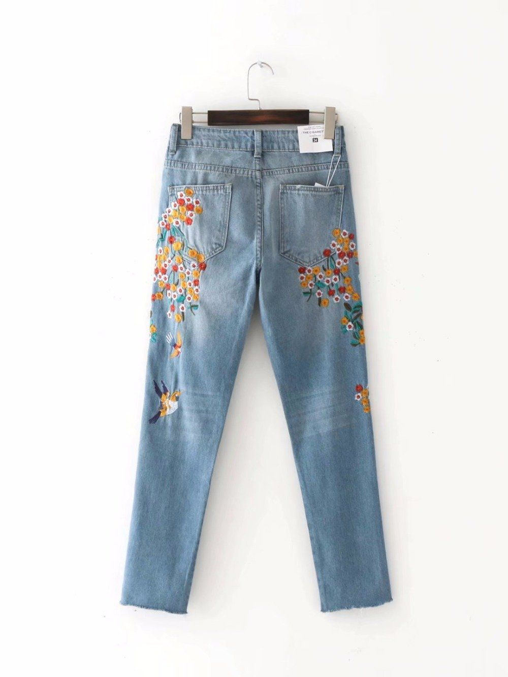 3d46f095001 Yellow flowers and birds embroidered jeans, Hip Boho Fashion, Casual and  Fun, International Sizing, Please Read Size Chart