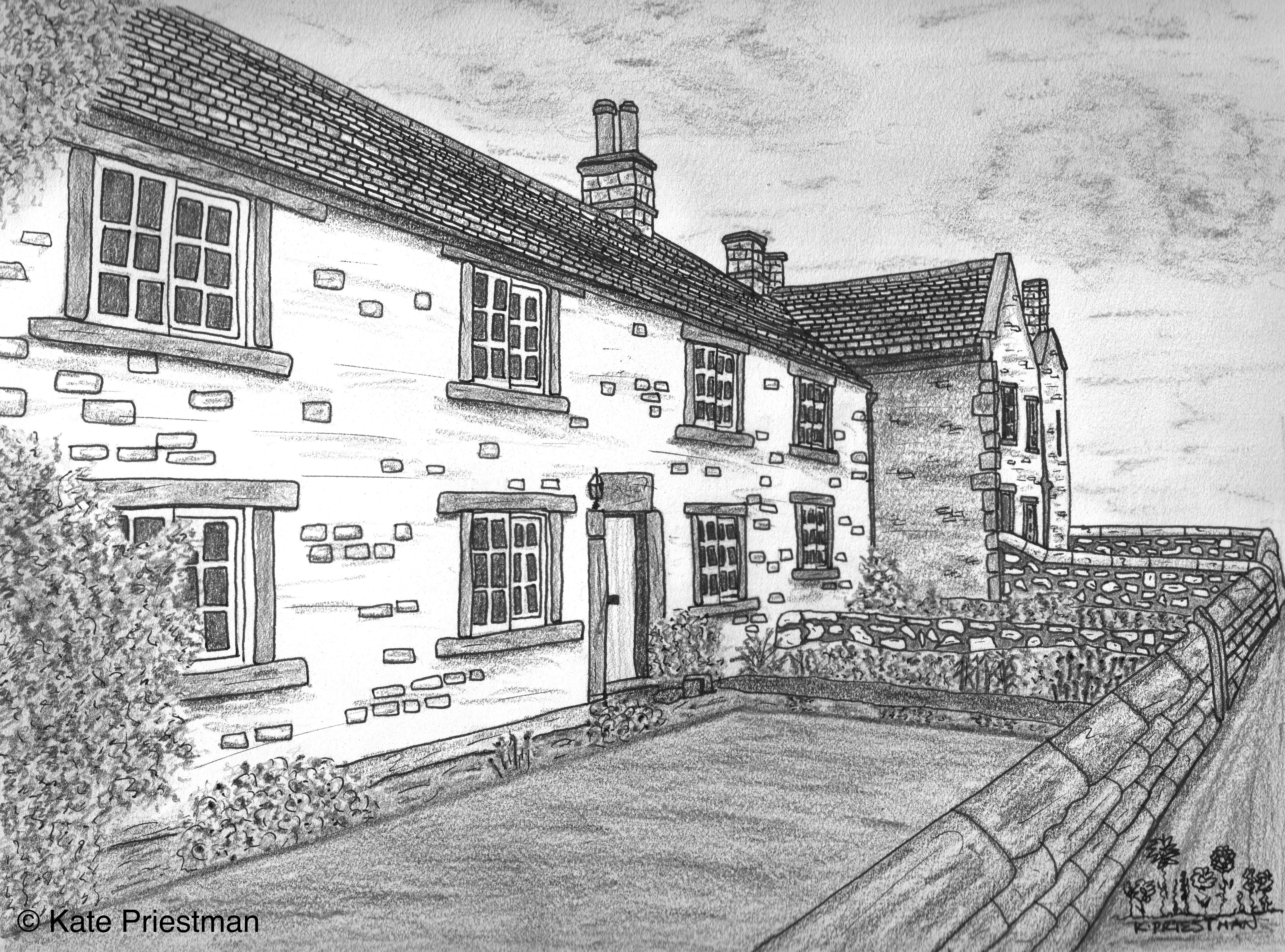 Eyam derbyshire plague cottages pencil ink drawing