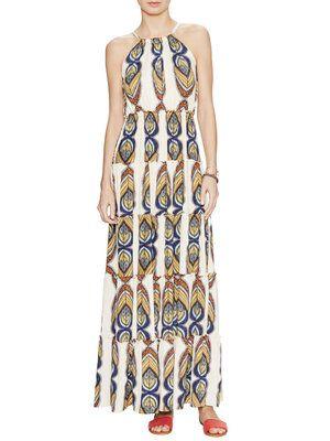 Halter Tiered Printed Maxi Dress