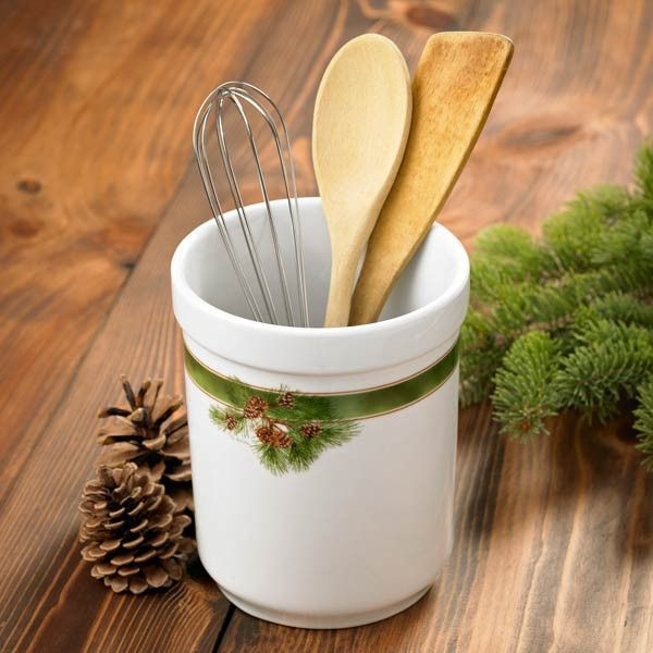 Pine Cone Ceramic Kitchen Utensil Holder | Buffalo Trader ...