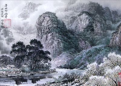 (North Korea) 꽃피는 산골, 2005 by An Cheol-nam (1970-   ). Korean brush watercolor.