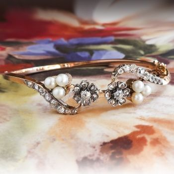 Antique Rose Cut Diamond Pearl Bracelet Circa 1880s Rose Gold
