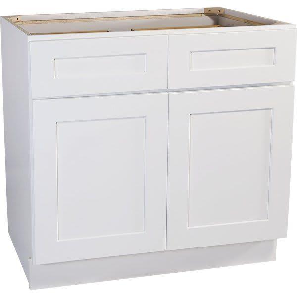 "Seasons® 36 x 34-1/2 x 24"" White Shaker Base Cabinet ..."