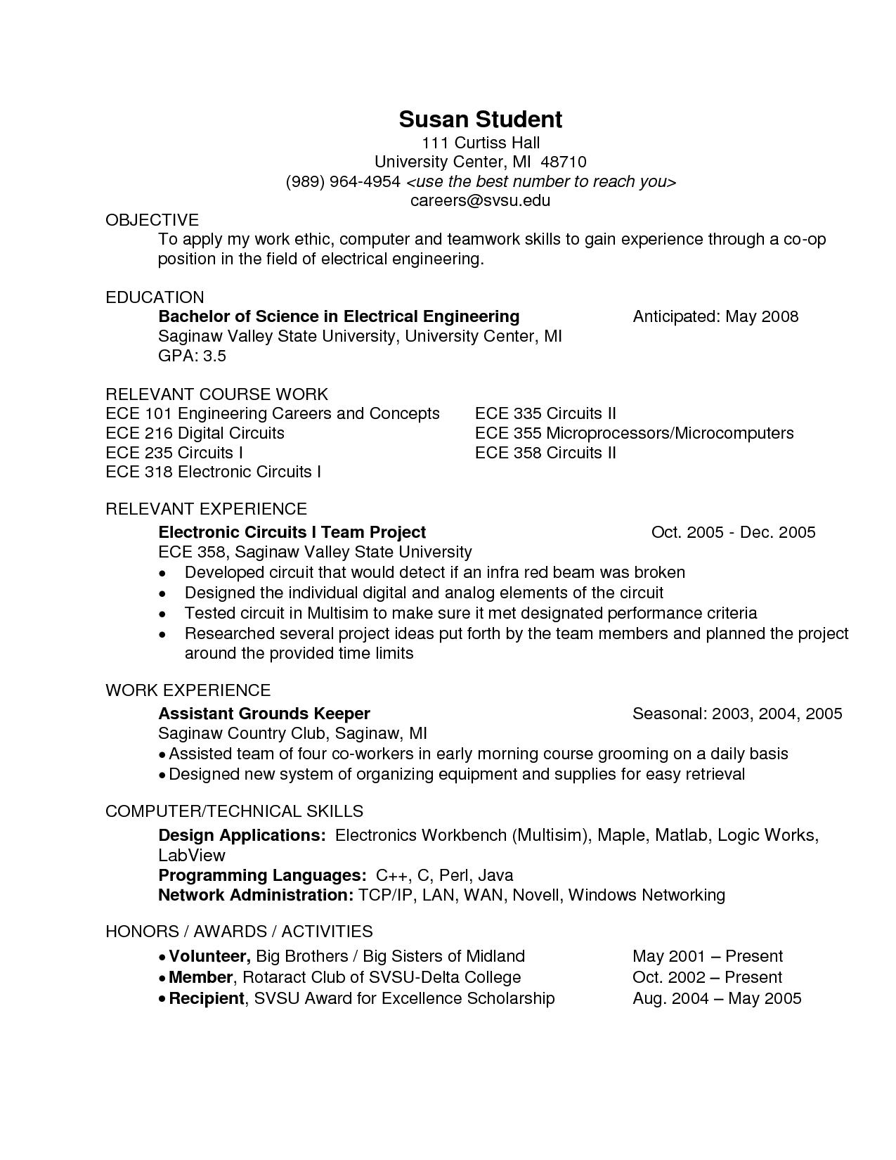 B E Ece Resume Format Engineering Resume Education Resume Resume Format