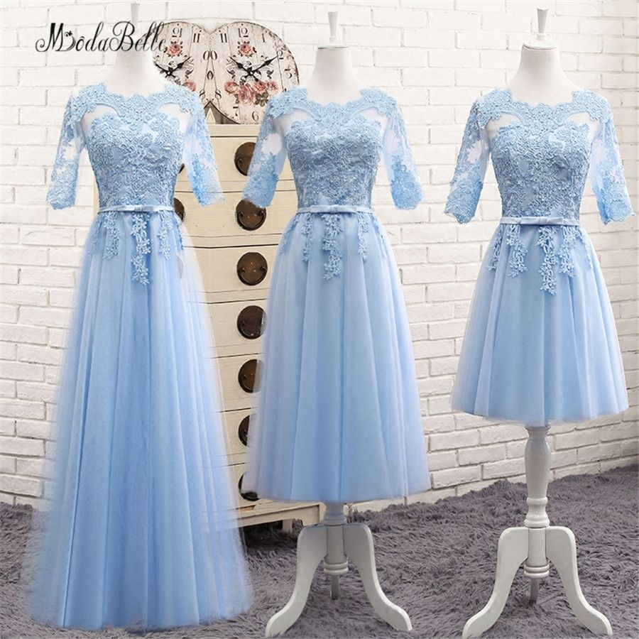 modabelle Long Lace Blue Bridesmaid Dress With Sleeves Sukienki ...