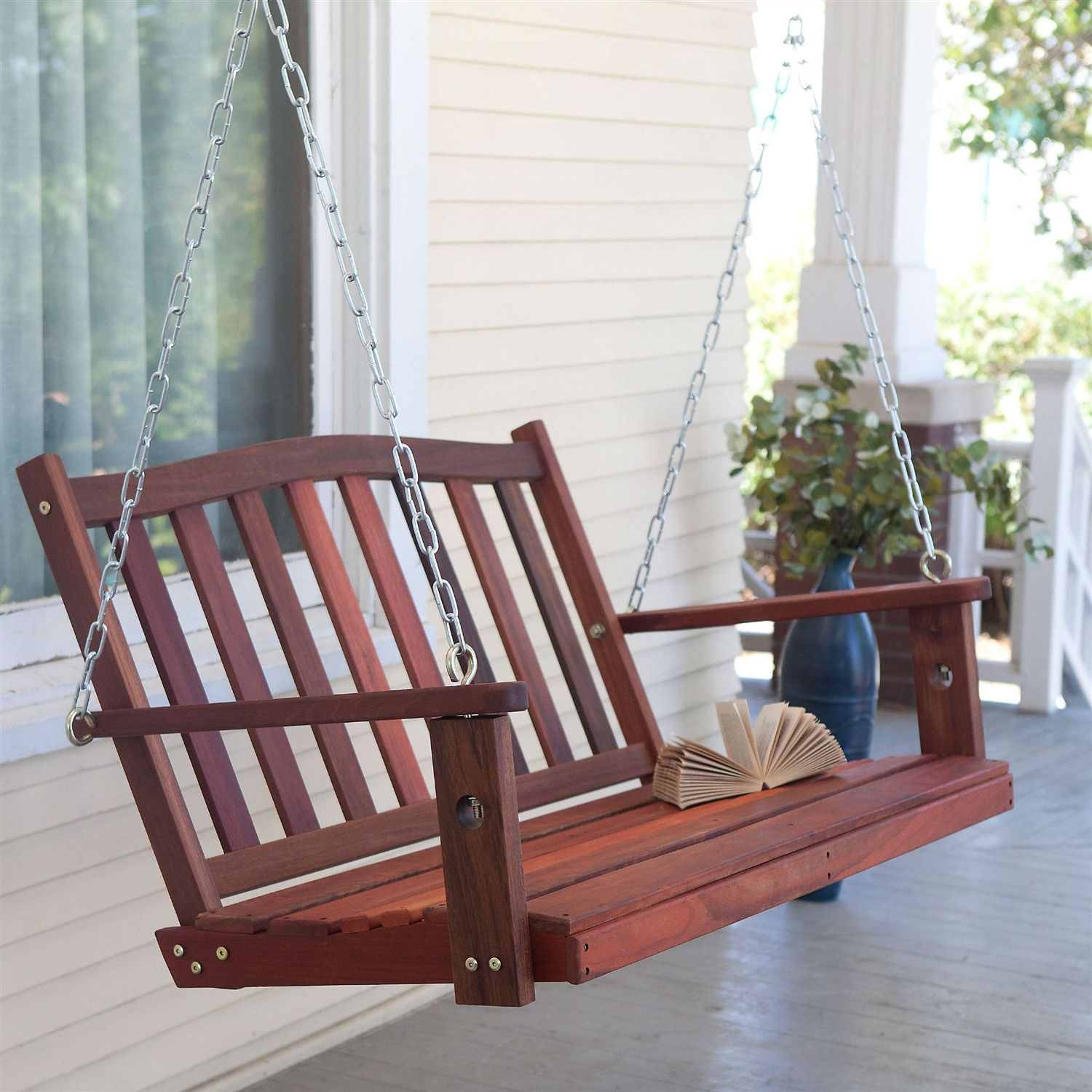 4 Ft Curved Back Porch Swing Bench Chair With Comfort Springs And Hanging Hooks With Images Porch Swing Swing Design Diy Porch Swing
