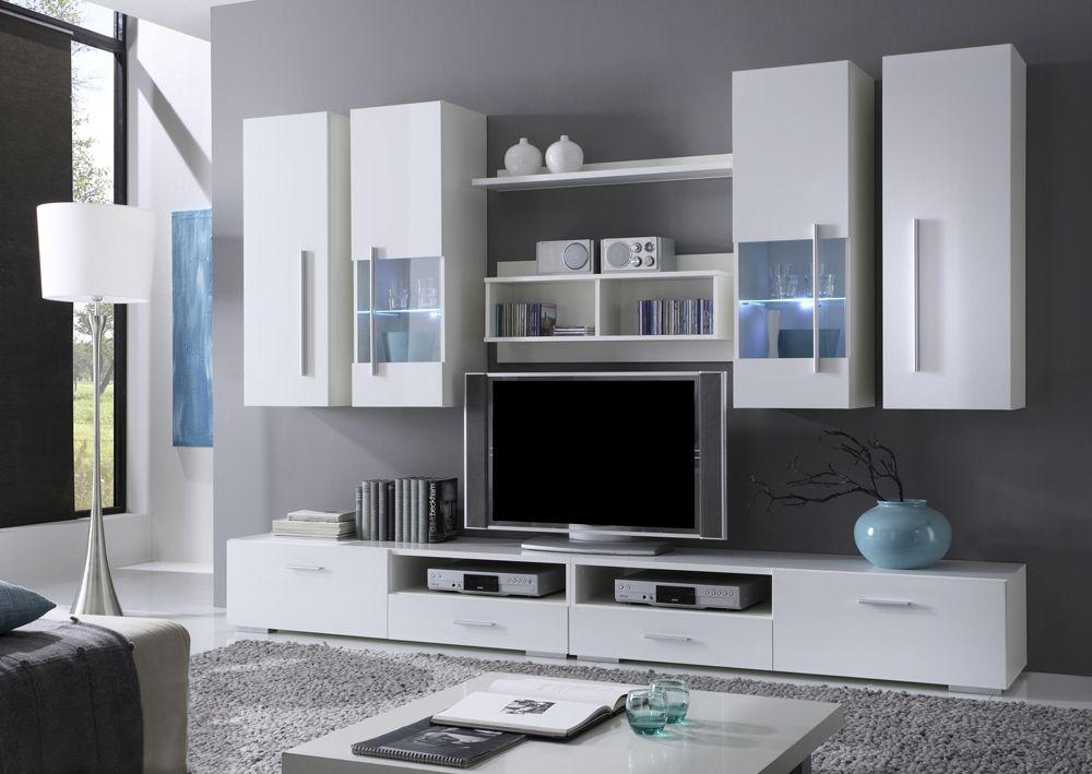 Design wohnwand anbauwand weiß grau  FELIS Wohnwand/Anbauwand weiss Dekor - schlichtes Design für das ...