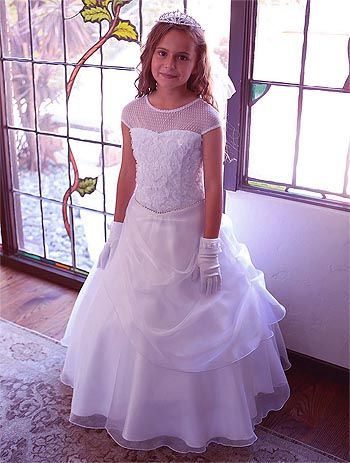 e79985e307e5 Princess style gorgeous communion or flower girl dress with organza  overlay. $129.95 Made in the USA!