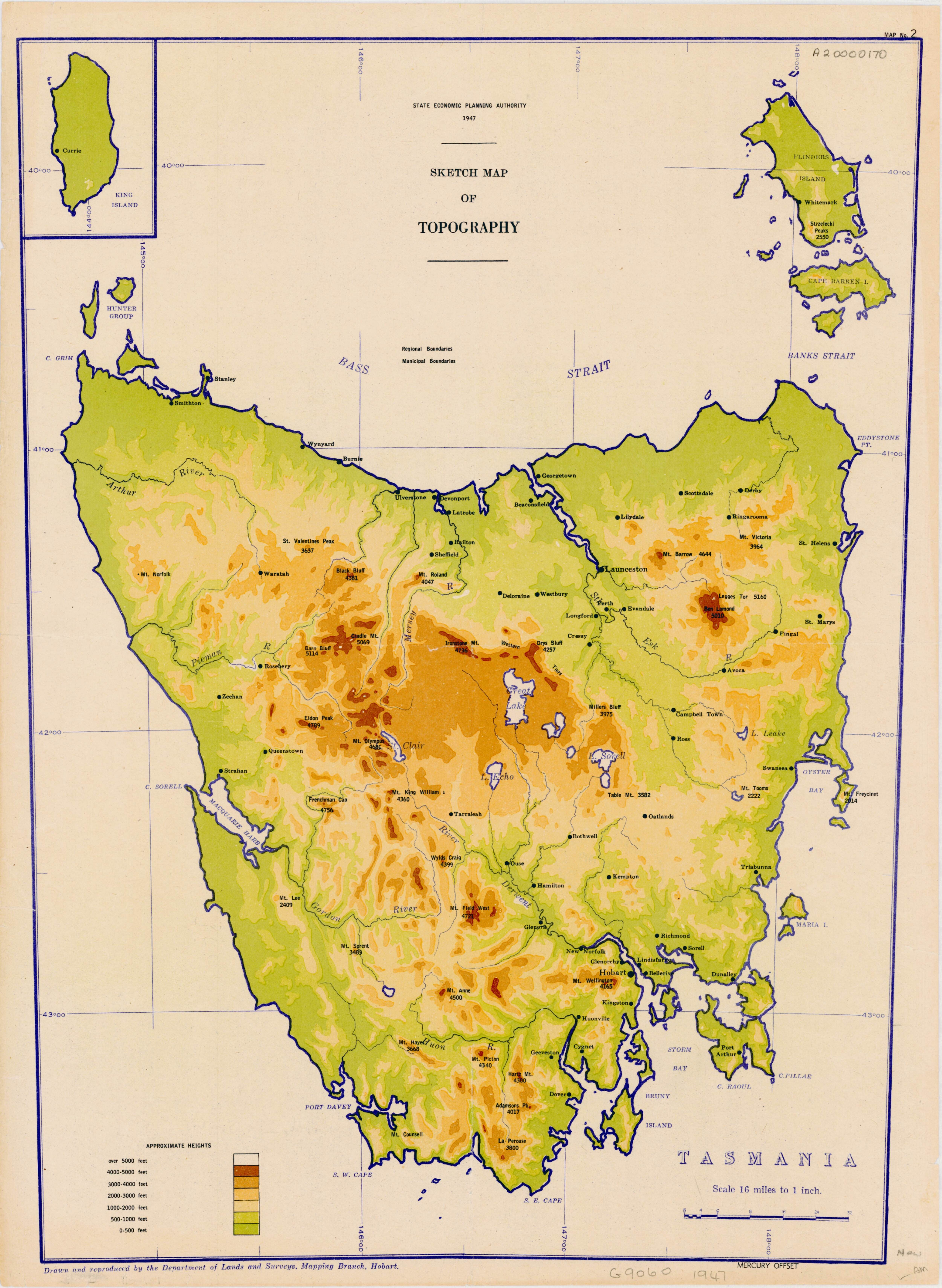 Elevation map of tasmania from 1947 sublime maps pinterest elevation map of tasmania from 1947 gumiabroncs Choice Image