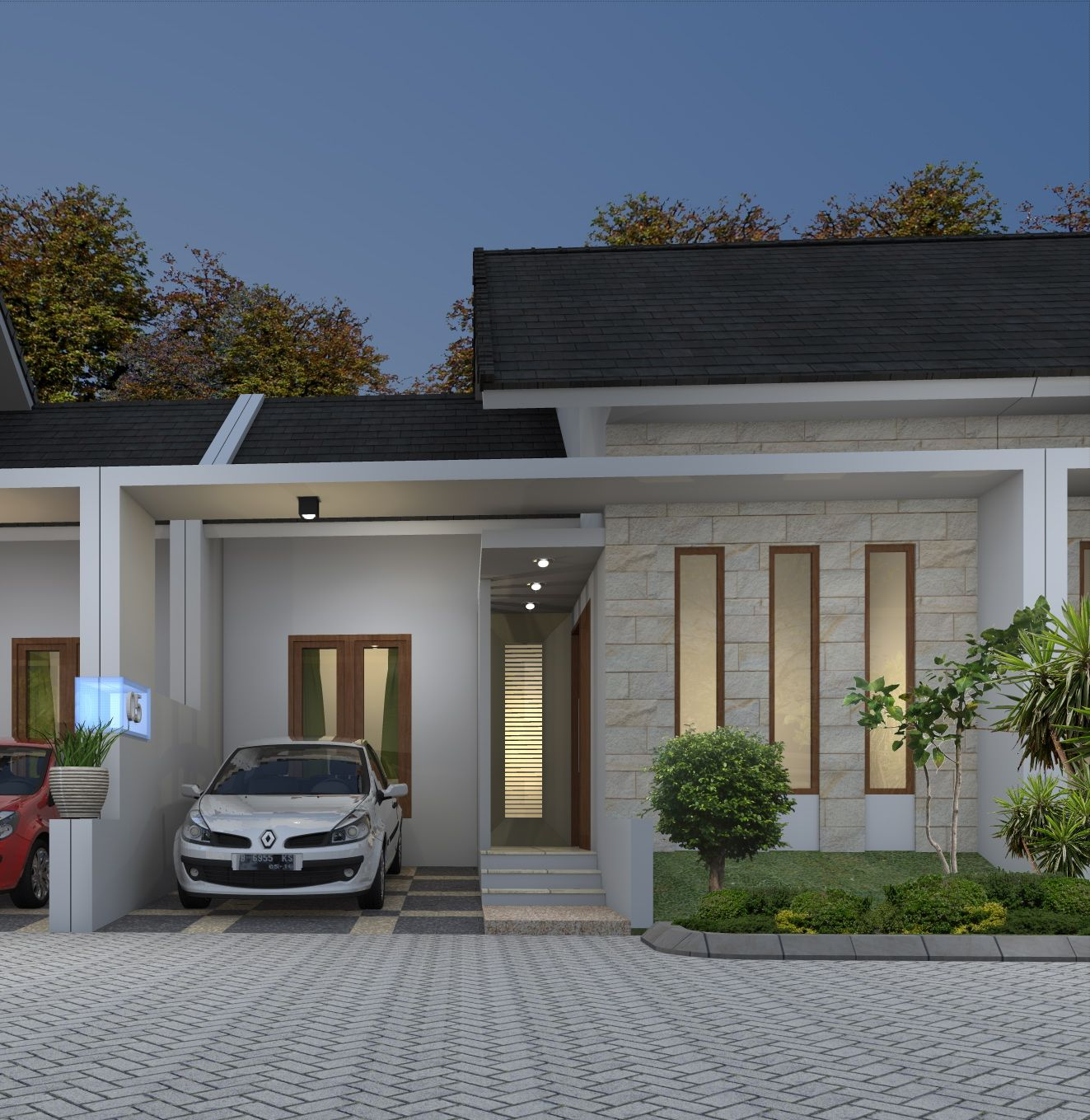 Berikut adalah gambar tampak depan dari desain rumah