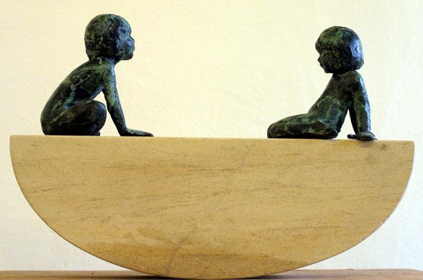 """Ebb & Flow by Alison Bell from the """"Wee Souls"""" collection @ http://www.creativeartsgallery.com/3d-art/sculpture/bronze-(22)/ebb-flow/"""