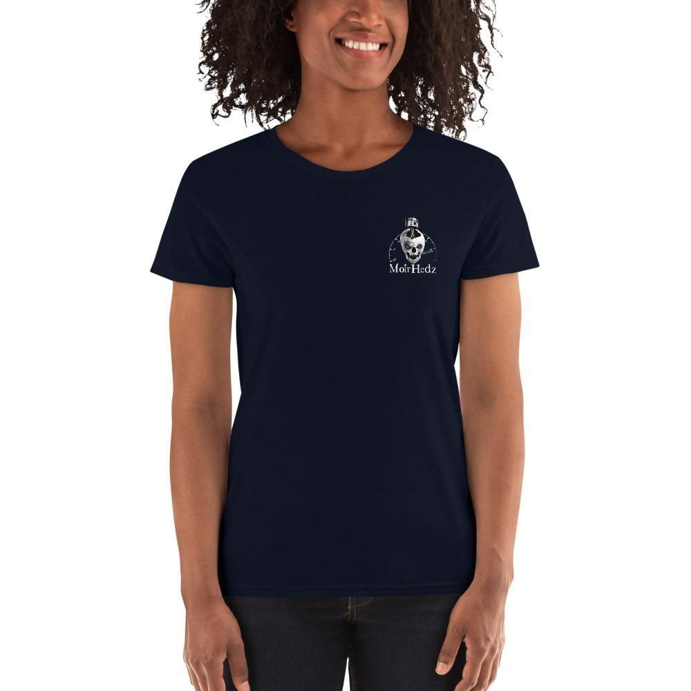 Photo of Nobody Cares Work Harder Damen-T-Shirt mit kurzen Ärmeln – Navy / XL