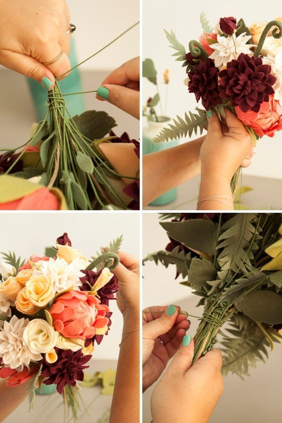 How To Make The Most Gorgeous Felt Wedding Bouquet! | Felt flowers ...