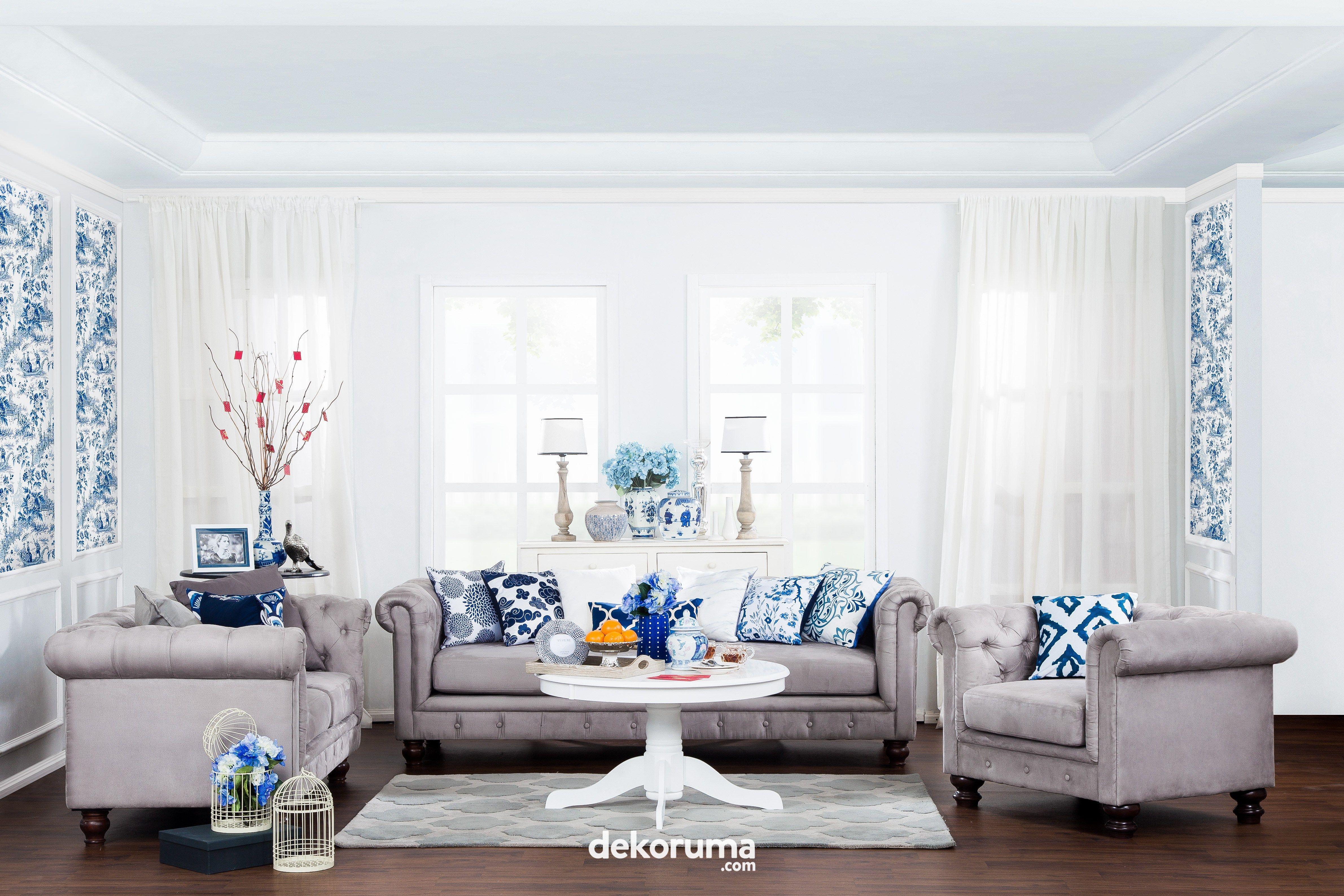 Inspirasi Ruang Tamu Nuansa Biru Minimalis Fungsional Minimalis Ruangan Dekorasi Rumah