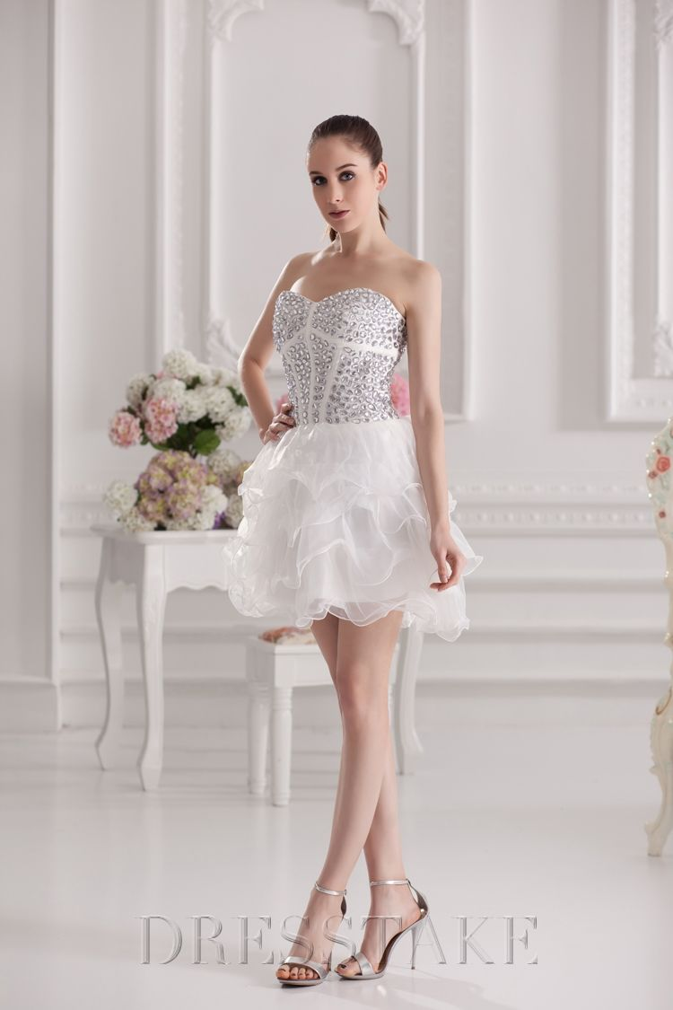 Mini white wedding dress  Newest Aline Short  Mini Sweetheart Zipup Organza White Prom