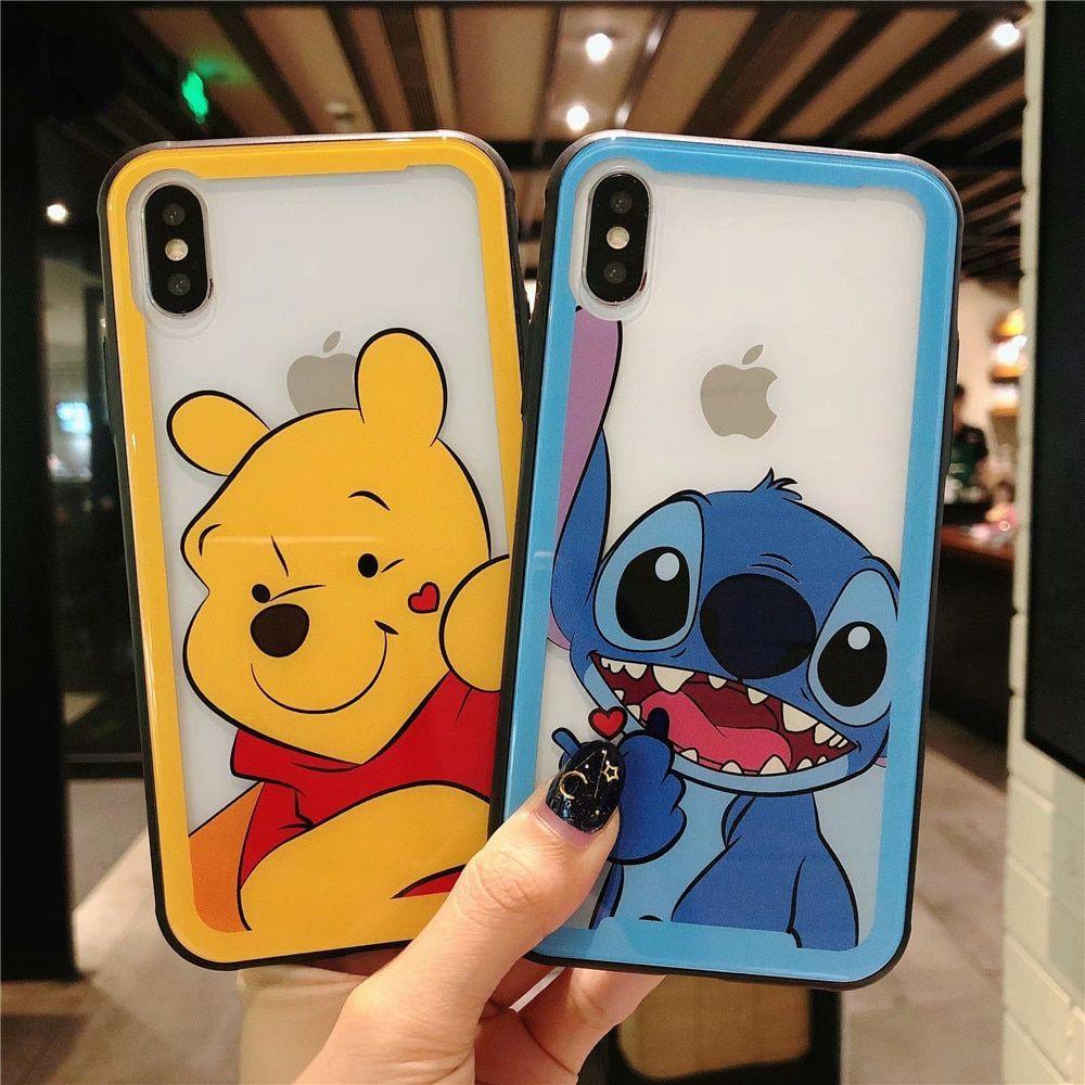 Cartoon stitch winnie pooh bear tempered glass protective