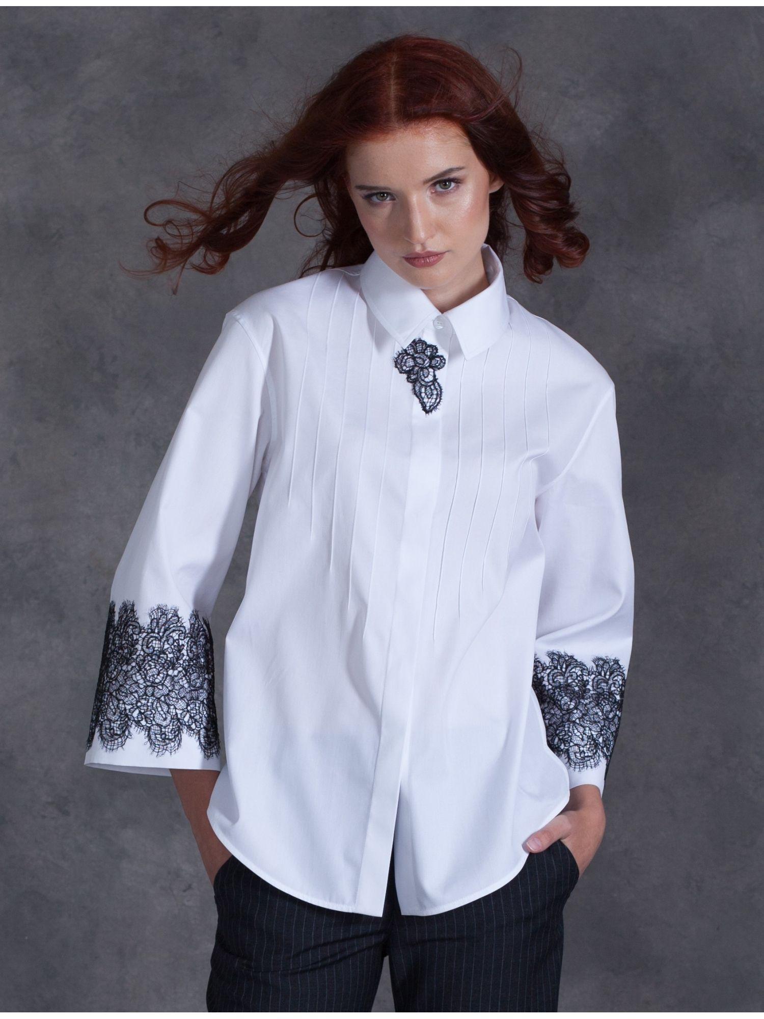 f7ebf34db75 стильная женская рубашка с кружевом