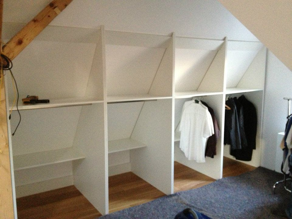 Low shelf takes advantage of the wider space along the bottom of the under eaves closet