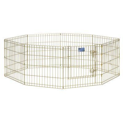Midwest Homes For Pets 8 Panel Exercise Pen Pet Playpen With Door 5 Height Options Gold Zinc With Images Dog Pen Animal Pen Playpen