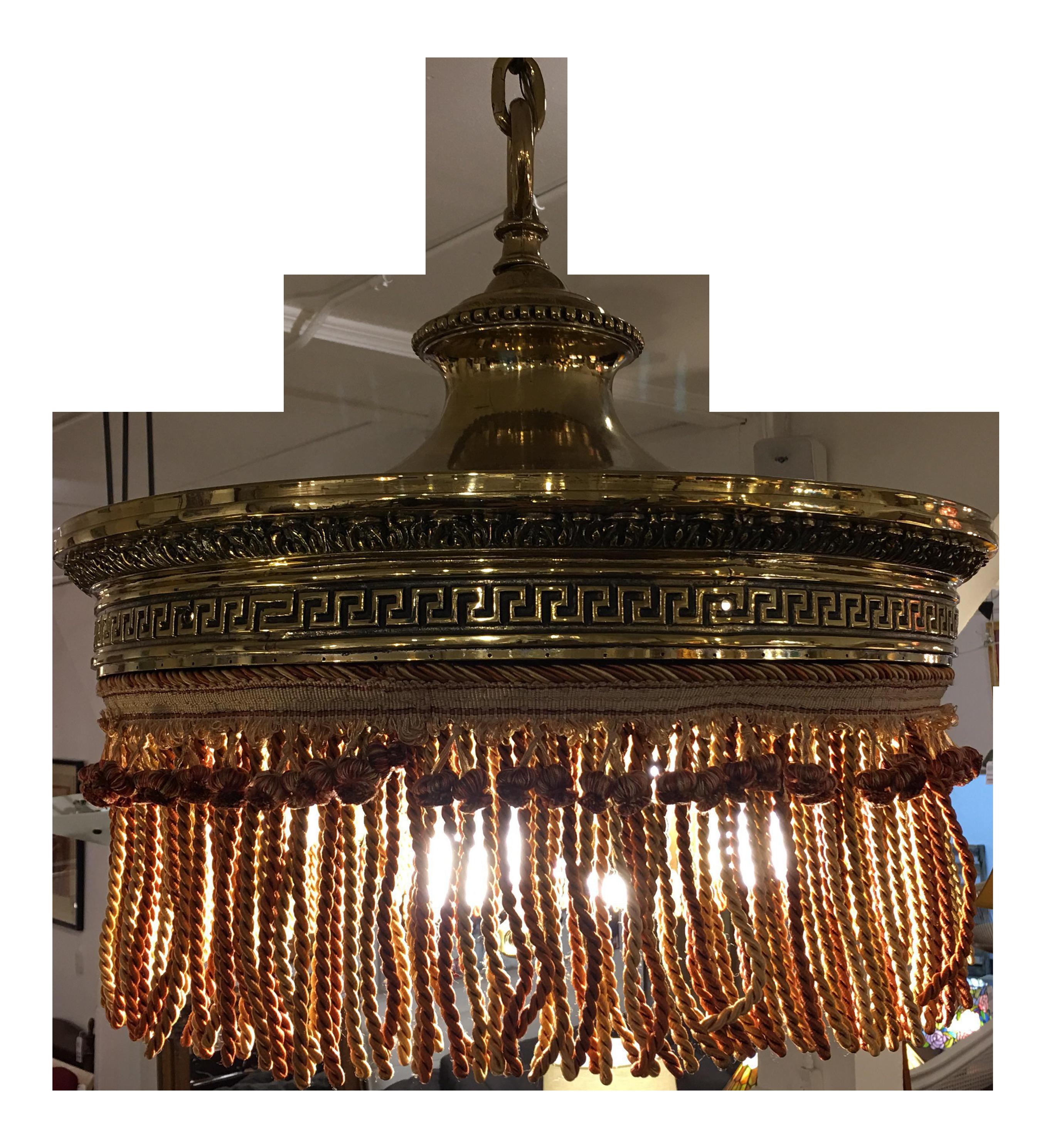 Vintage Victorian Fringed Brass Pendant Chairish Shop Pendant Lights Pendant Lighting Brass Pendant