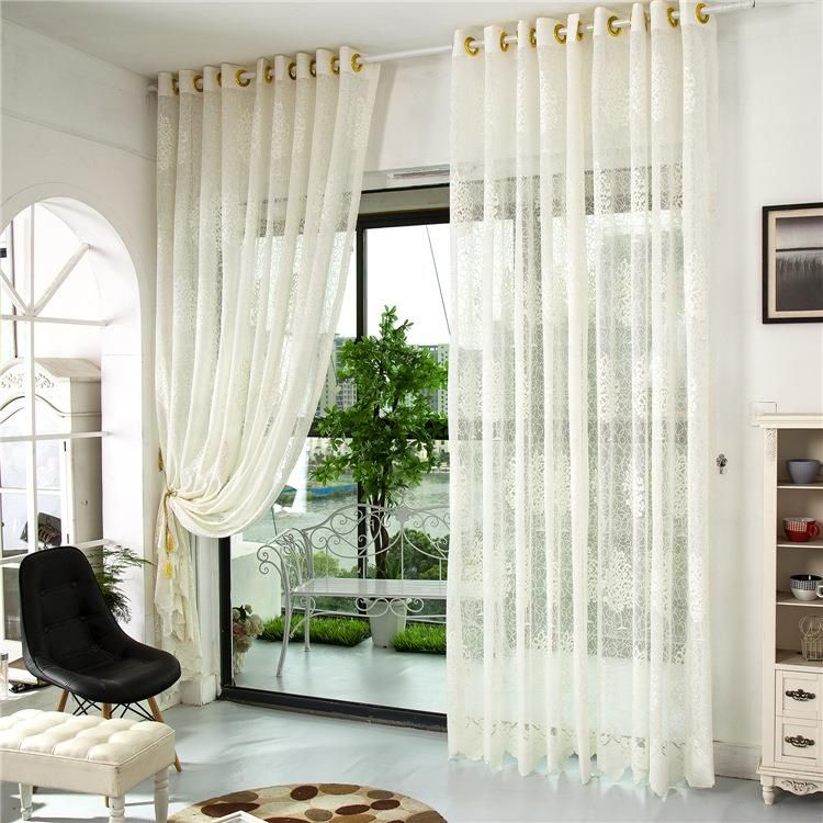 2 Panel Jacquard Hollow Out Window Screening Sheer Curtains Fascinating Luxury Curtains For Living Room Decorating Design