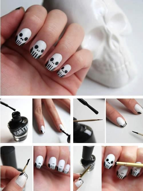 Easy skull nail art. Loved it! Do skulls in neon yellow for Team Punisher Wrestling :}