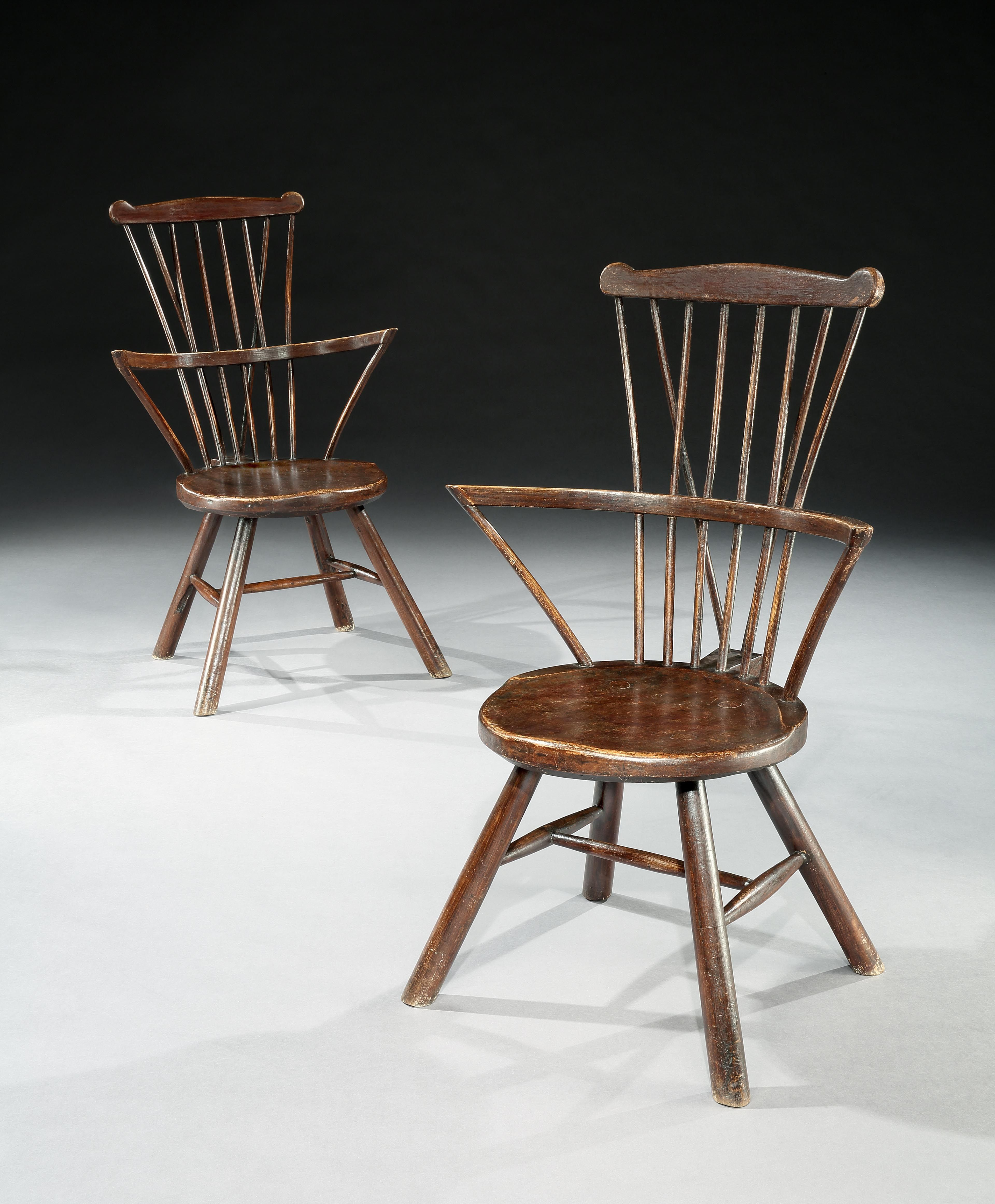 Unusual Kitchen Chairs: Robert Young Antiques- Collection. Unusual Pair Of Round