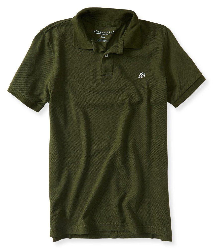 759e29017d4 Aeropostale Men's A87 Solid Logo Piqué Polo Shirt | Amazon.com ...