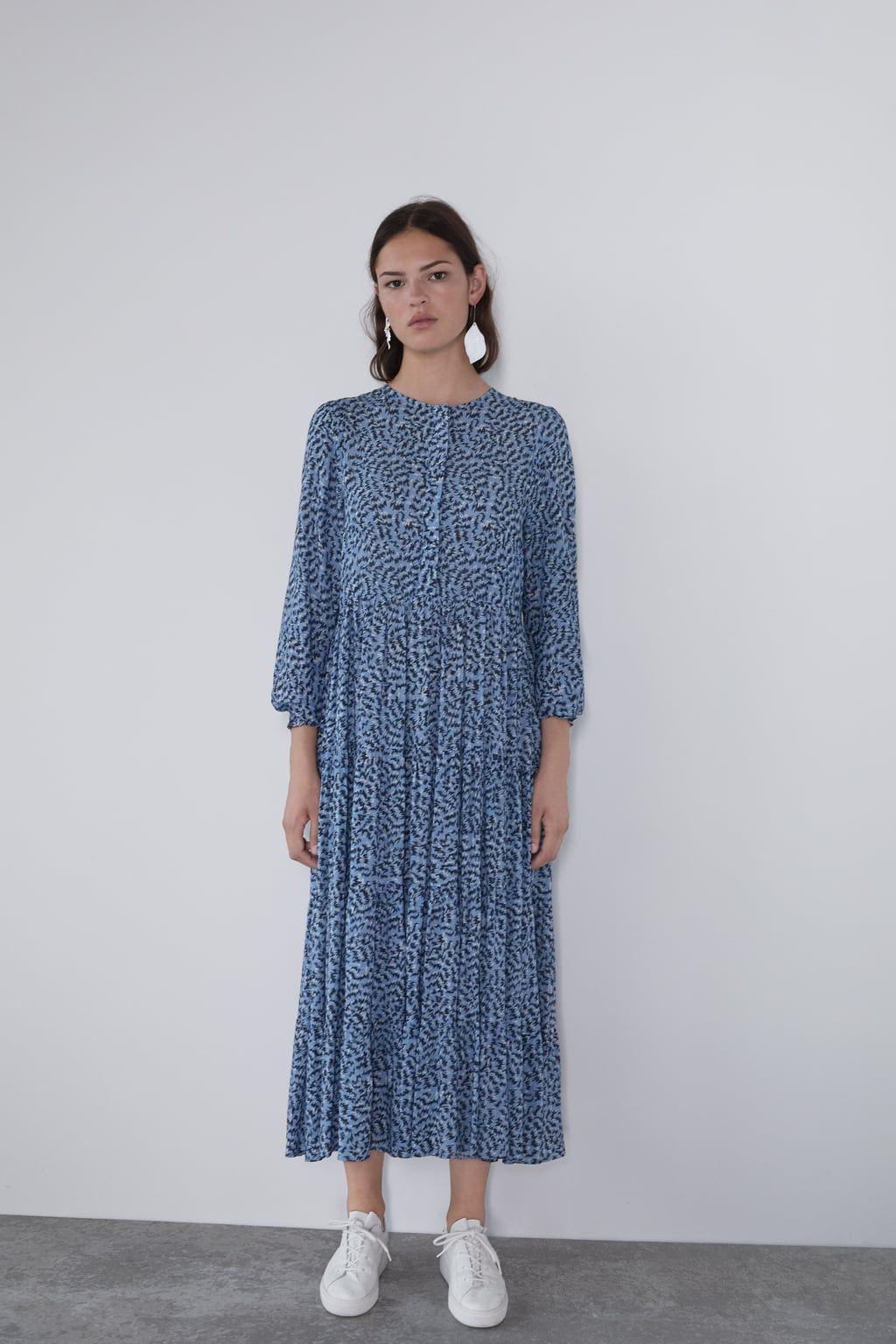 Vestido Largo Estampado In 2020 Lange Kleider Kleider Damen Zara Kleider