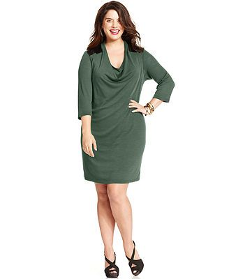 NY Collection Plus Size Three-Quarter-Sleeve Draped Sweater Dress