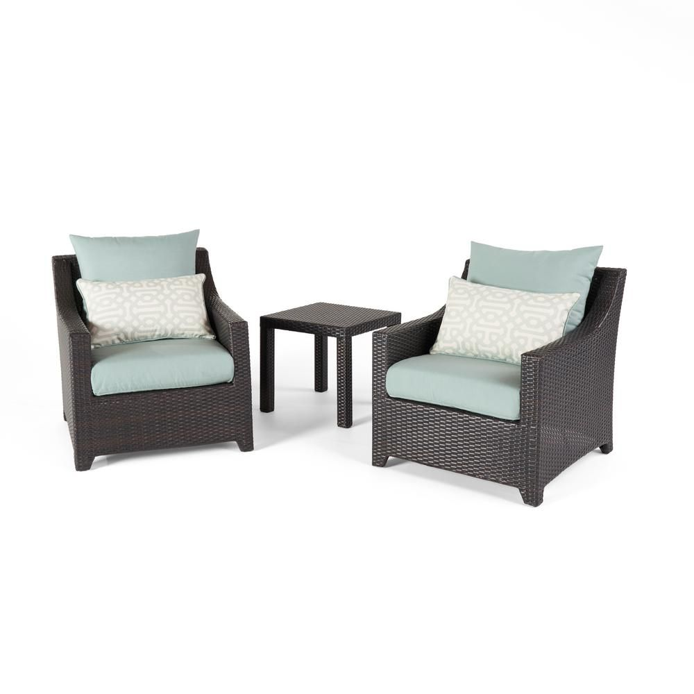 RST Brands Deco 2-Piece All-Weather Wicker Patio Club Chairs and Side Table Seating Set with Spa Blue Cushions