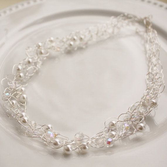bridal communion necklace glass pearl czech by collscreations, $22.00