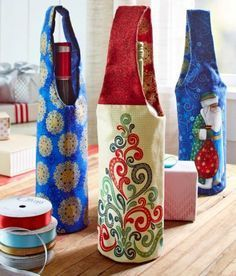 Holiday Wine Bottle Gift Bags to Sew