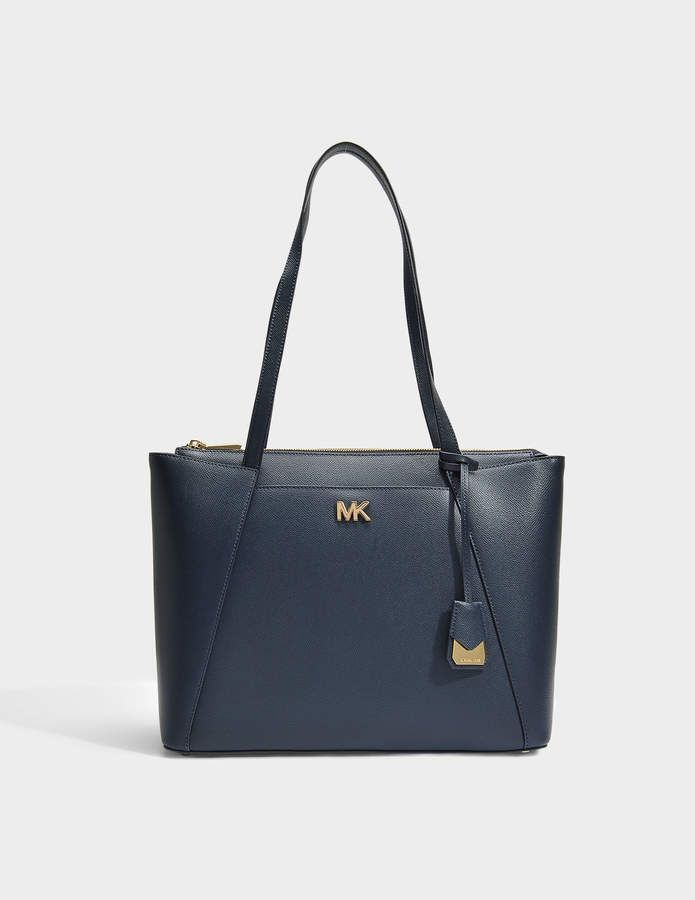 aa3186d7ef67 MICHAEL Michael Kors Mott Medium East-West Top Zip Tote Bag in Admiral  Crossgrain Leather