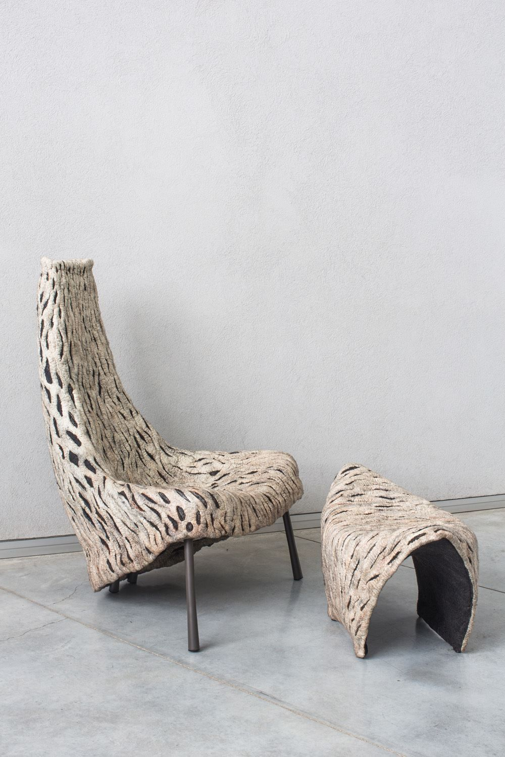 ayala serfaty armchair nuno felt handmade of wool linen and