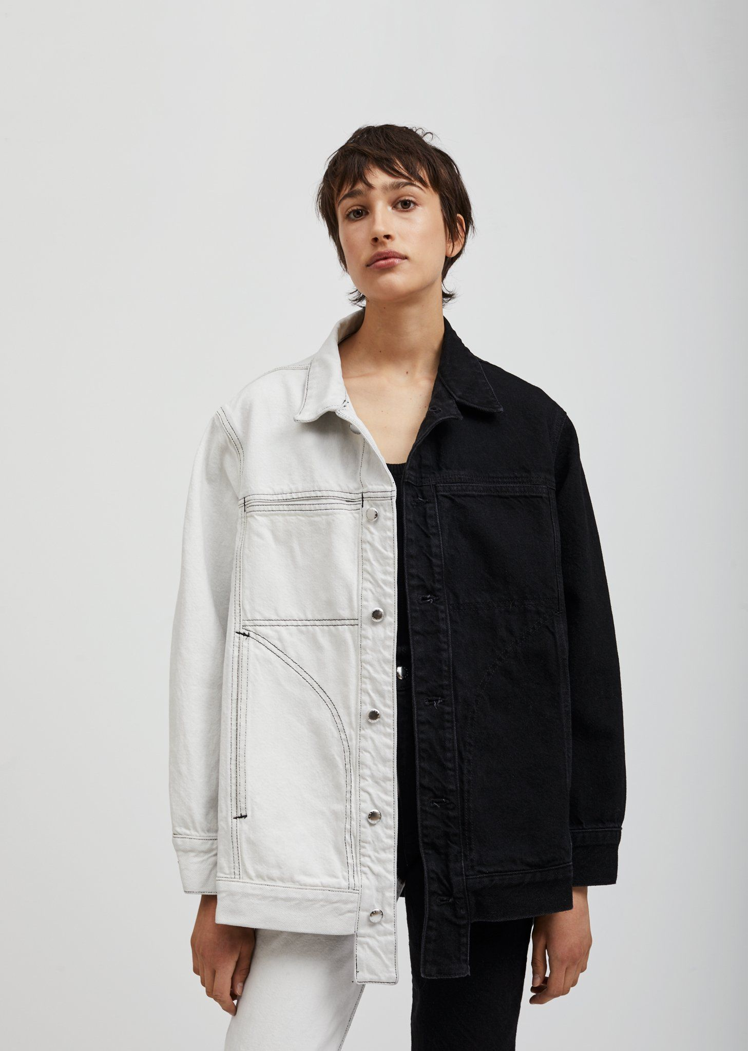 5b2ad5a4e9 Two Tone Denim Jacket - X-Small   Black and White