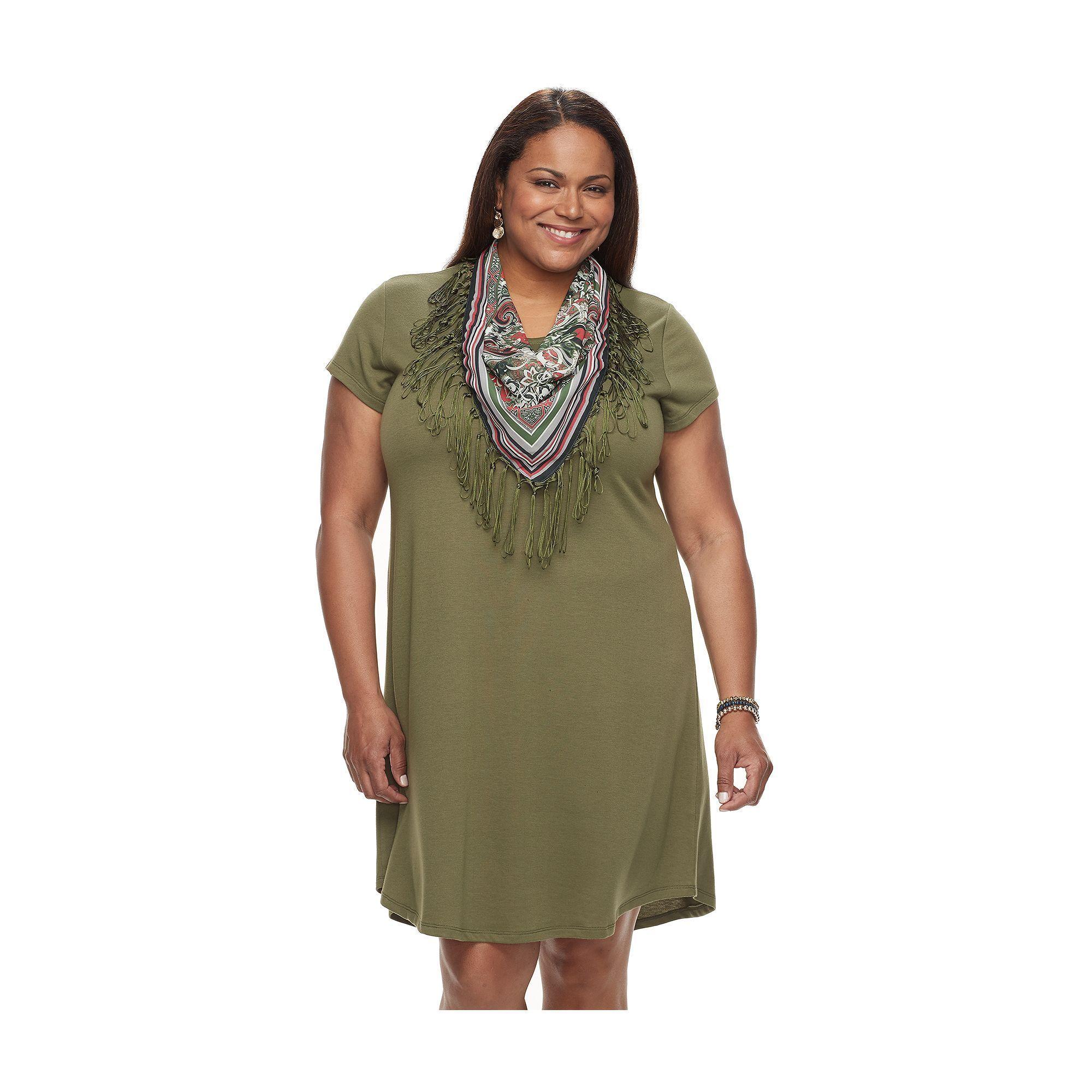 Dark green dress shirt  Plus Size World Unity TShirt Dress u Scarf Set Womenus Size XL