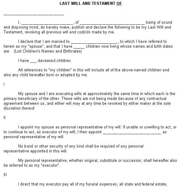Printable Sample Last Will And Testament Form Laywers Template - will form