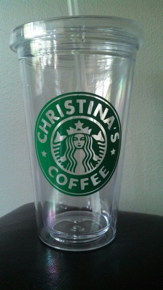 f362dbb9d91 Starbucks Inspired Personalized Plastic Tumbler with Straw Coffee ...
