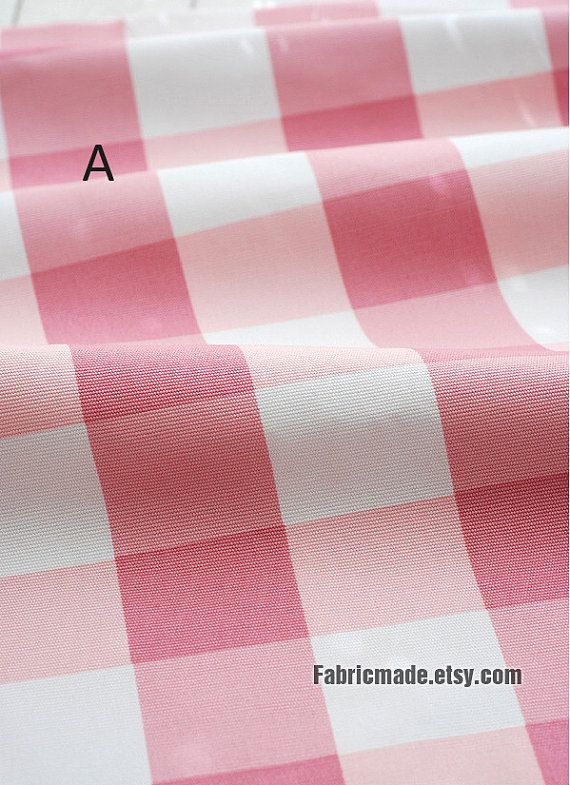 Large Check Fabric Canvas Cotton Fabric Pink Plaid
