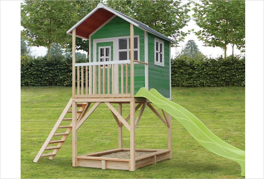 Cabane en bois avec toboggan Loft 700 Vert Pinterest - Maisonnette En Bois Avec Bac A Sable