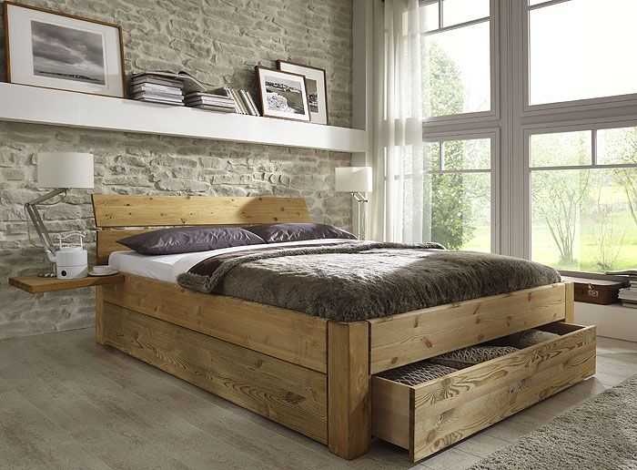 bett mit schubladen aus massivholz kieferm bel als einzelbett doppelbett teilweise auch ohne. Black Bedroom Furniture Sets. Home Design Ideas