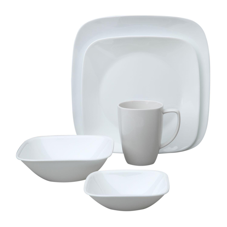 Corelle Square Pure White 20 Piece Dinnerware Set, Service For 4