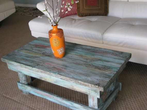 FREE SHIPPING  Rustic Distressed Coffee Table With Turquoise Color Pop  Distressed Finish